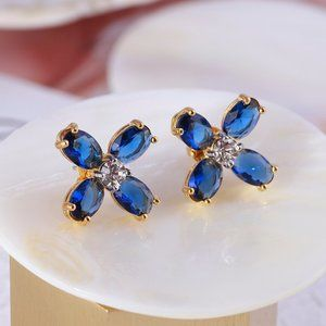 Tory Burch Buddy Glass Clover Stud Earrings